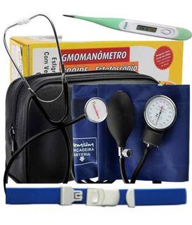 Kit Enfermagem Medidor De Pressão Esteto Termômetro Garrote