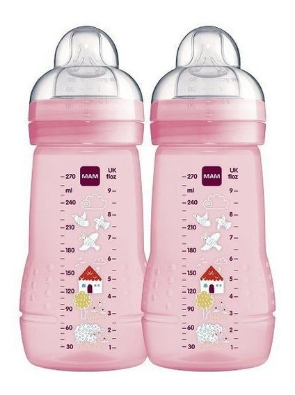 Kit 2 Mamadeiras Mam Fashion Bottle Rosa 270ml 2m+ Girls