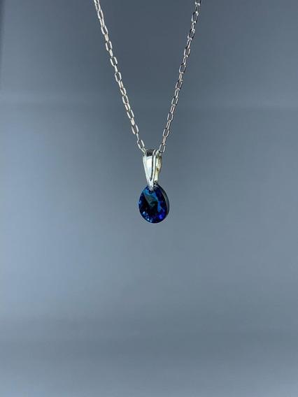 Conjunto De Plata Cristal Swarovski Elements Crystal Blue