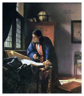 O Geógrafo - Vermeer - 75x86 Tela Para Quadro