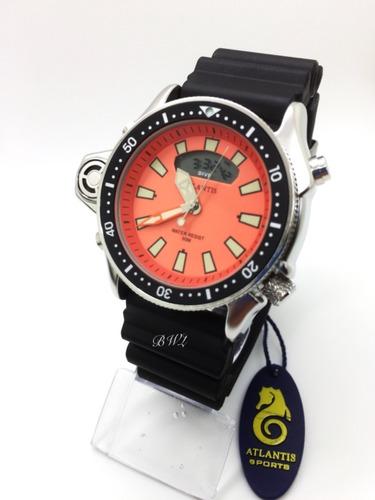 Relógio Atlantis Aqualand Jp2000 Serie Prata Laranja
