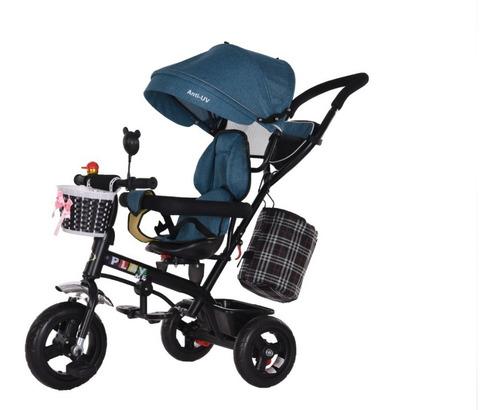 Coche Paseo Azul 360  Triciclo  Volante  Capota Ml 278