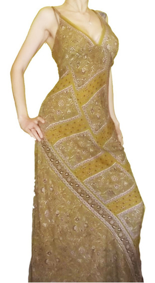 Elegante Bellos Vestido Hindú Largo Importado India Chic Xl