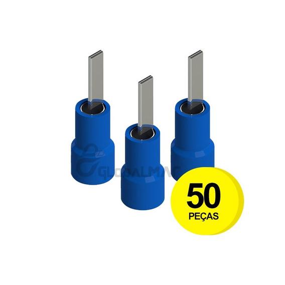 Terminal Pré Isolado Tipo Pino Azul 16mm Conector - 50 Peças