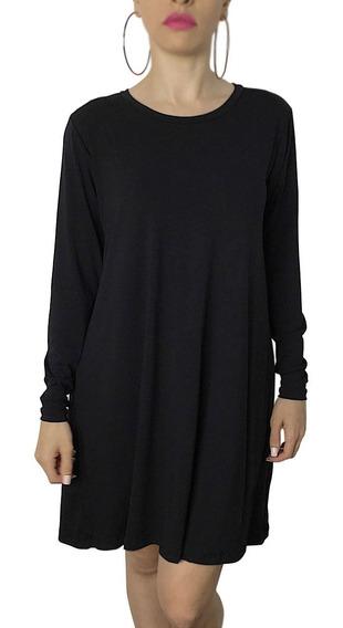 Vestido Casual Pretinho Básico Roupa Tumblr Style Plus Size