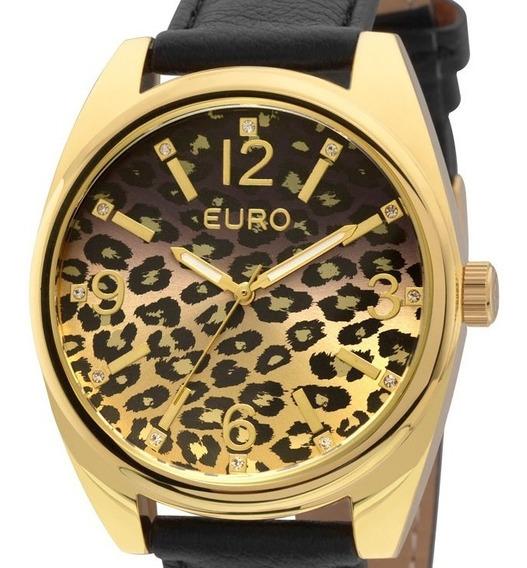Relogio Feminino Couro Preto Dourado Oncinha Euro Eu2035xyx/2p Onça Degradê Original