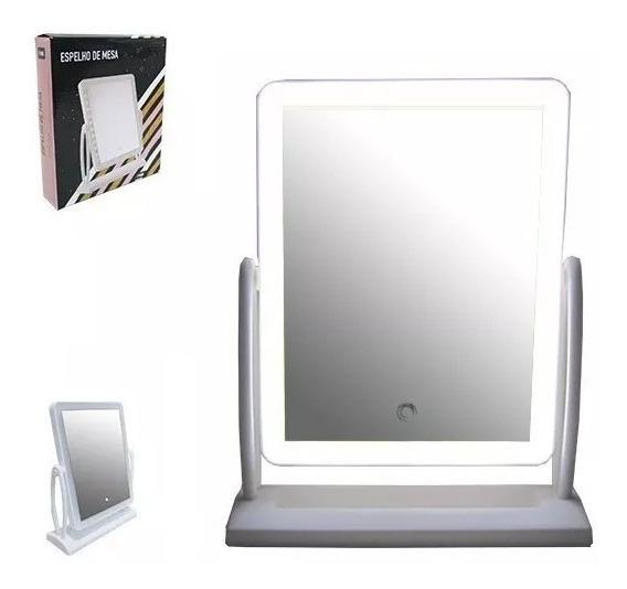 Espelho De Mesa Maquiagem C/ Luz Led Rotação 360° Camarim