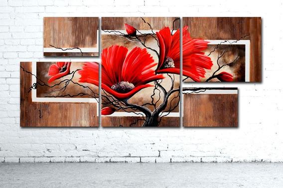 Exclusivo! Cuadro Poliptico Moderno Desde 156x73cm Flores Variadas Diseño Personalizado