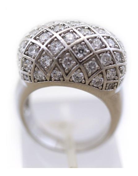 Anel Detalhe Trançado Pedras Brancas Em Prata 925 J10772