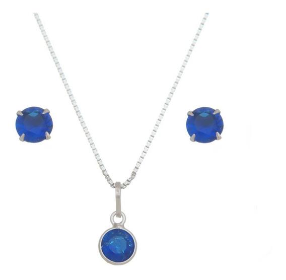 Conjunto Feminino Pedras Azul Prata 925 Colar E Brincos