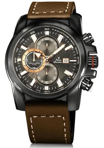 Relógio Jean Vernier Masculino Ref: Jv192 Cronógrafo Black