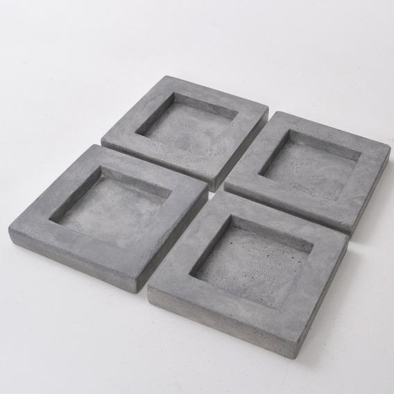 Castiçal Porta-vela Quadrado Cimento Refratário Cinza