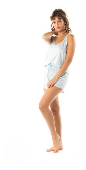 Pijama Corto Mujer De Dos Piezas Celeste Mizu