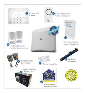 Kit Alarma X-28 Casa 8 Zonas 2 Ctontroles Luz Emergencia 14