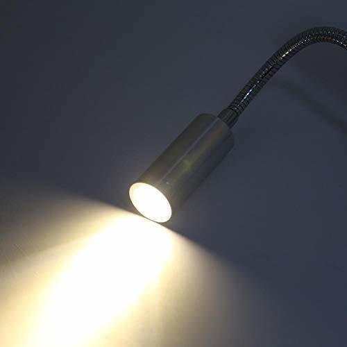 Warm White -1W FTVOGUE Luz de Trabajo de Lectura montada en la Pared con Cuello de Cisne Flexible 3500k l/ámpara Blanca//c/álida con led de Cama AC85-265V 1W // 3W