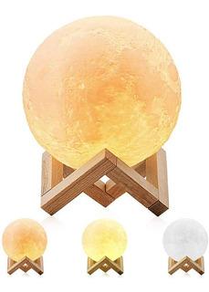 Lámpara Luna Led - 3 Colores De Iluminación - Recargable