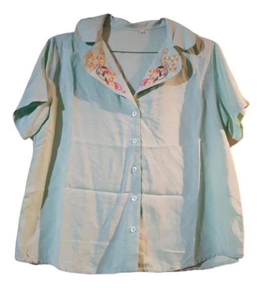 Camisa Fibrana Con Bordado En El Cuello T L Y Xl
