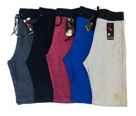 Kit Com 5 Bermudas Shorts Moletom Masculinos Super Top