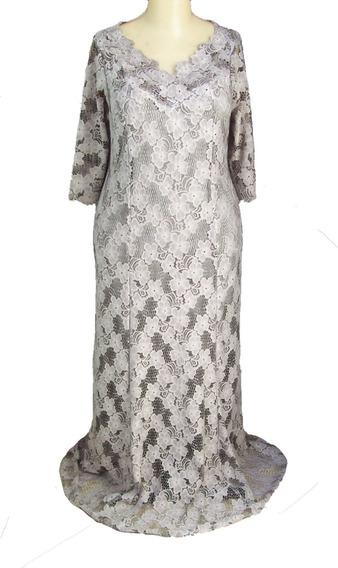 Vestido - Cinza- Tamanho Grande - Longo - Soltinho S 01