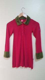 Vestido Feminino Infantil Puc Girls Rosa Verde Pelinhos