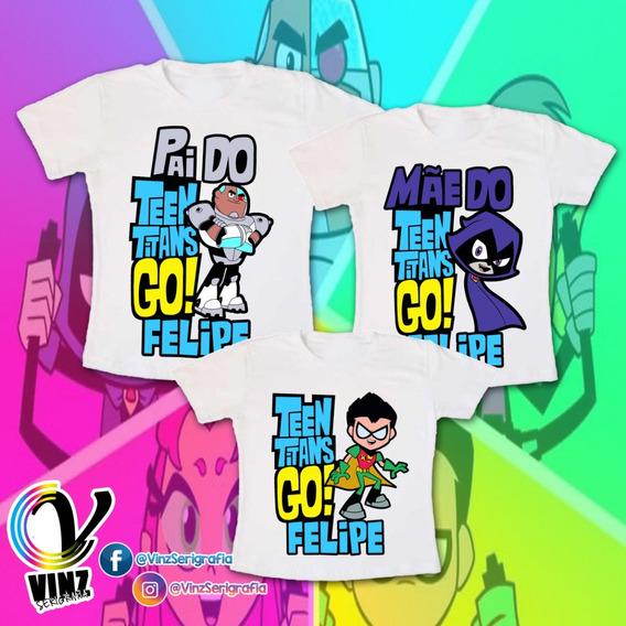 Kit 3 Pçs Camisa Person. Pai, Mãe E Filho(a) - Jovens Titãns