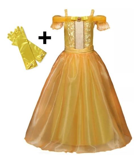Vestido Fantasia Luxo Infantil Princesa Bela E A Fera + Luva