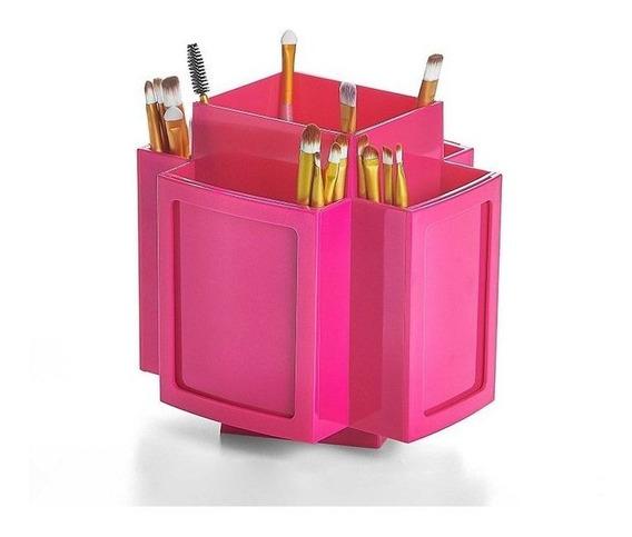 Porta Pincel/acessório/maquiagem Giratório Em Acrílico Rosa