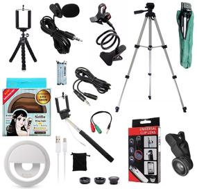 Kit Youtuber Microfone Lapela Led Tripé 1,30m Câmera Celular