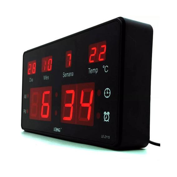 Relógio De Parede Led Le-2114 Lelong Temperatura Calendário