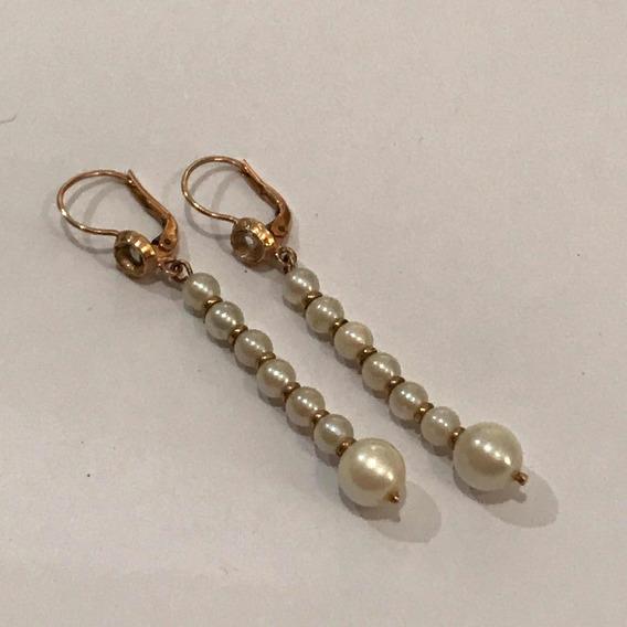 Aros Oro Y Perlas Cultivadas Antiguos Años 40