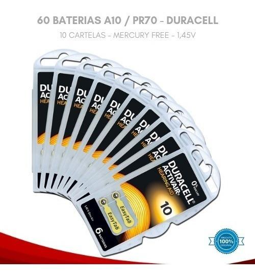 60 Baterias D A 10 Pr70 Aparelho Auditivo - Duracell