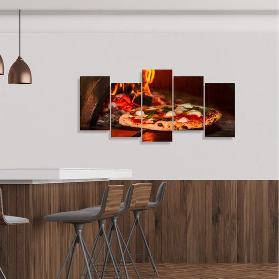 Quadro Decorativo Pizzaria Forno Mosaico 5 Peças Comidas