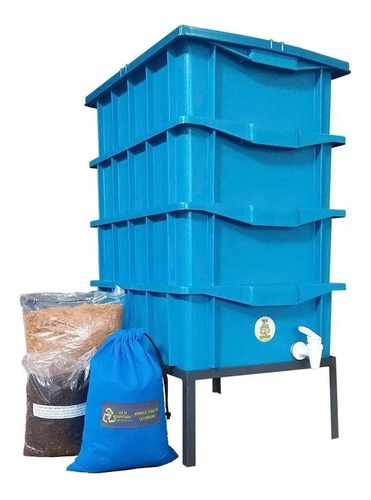 Kit Compostagem Caseira  15 Azul  Com Minhocas E Suporte