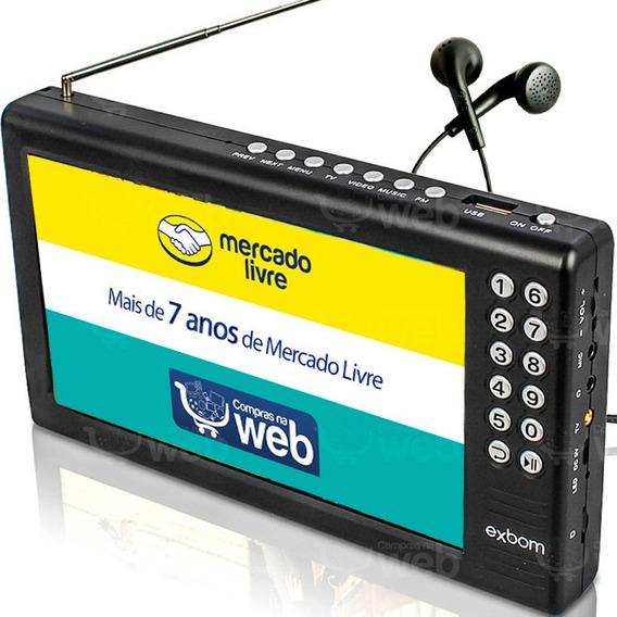 Mini Tv Digital Antena Portátil Tela 7 Pol Usb Exbom + Fone