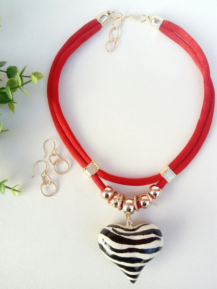 Collar Artesanal Rojo Corazón Cerámica Animal Print