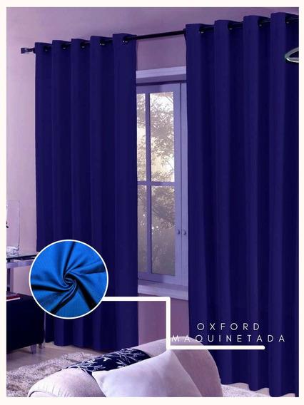 Cortina Oxford Maquinetada Azul