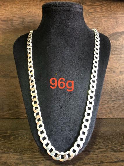 Colar De Prata Italiana 925 Modelo Groumet 96g 70cm