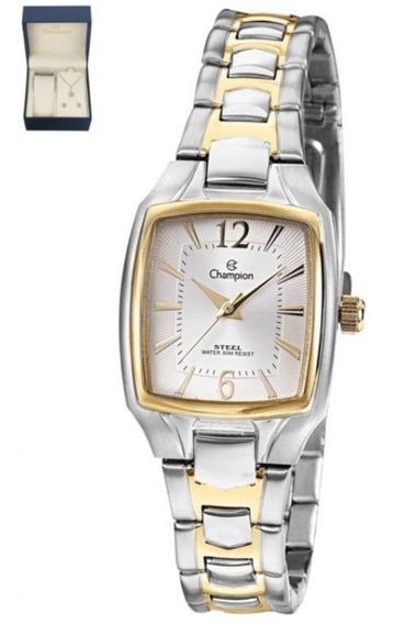 Relógio Champion Feminino + Semi Joia Cs28281w - Nota Fiscal