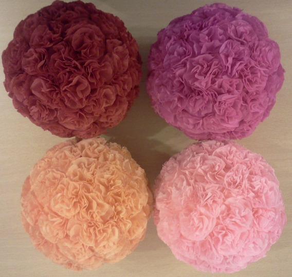 Esferas Con Flores De Papel - 11 Cm De Diametro