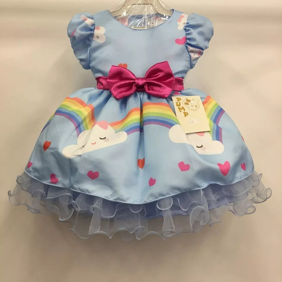 Vestido Infantil Luxo Chuva Da Amor 1 Ao 3