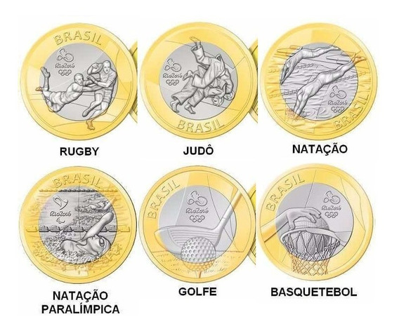 Lote De 6 Moedas De 1 Real Comemorativas Das Olimpíadas (8)