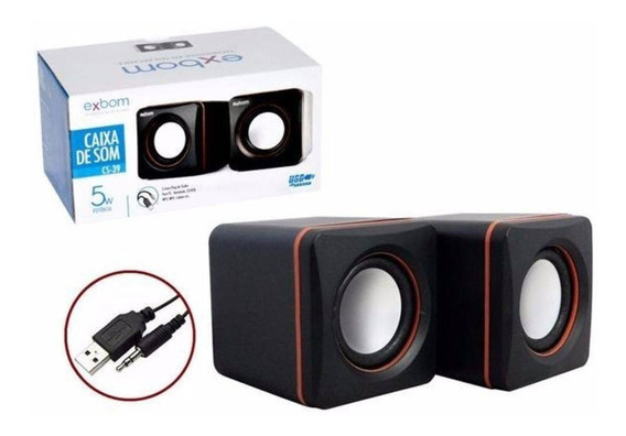 Caixa Som 2.0 4w Rms Kit Acessorio Pc Notebook Exbom Cs-39