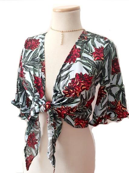 Camisa De Fibrana Anudada De Moda