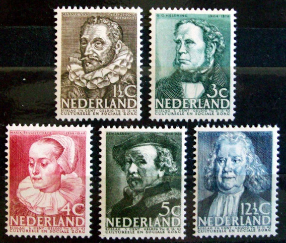 Holanda, Serie Yv. 304-08 Obras Sociales 1938 Mint L6881