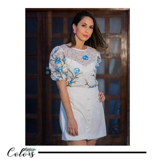 Shorts Cintura Alta Feminino Com Blusa Conjunto Da Moda