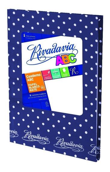 Cuaderno Abc Rivadavia 50 Hjs Lunares Azul Ray 19x23,5cm