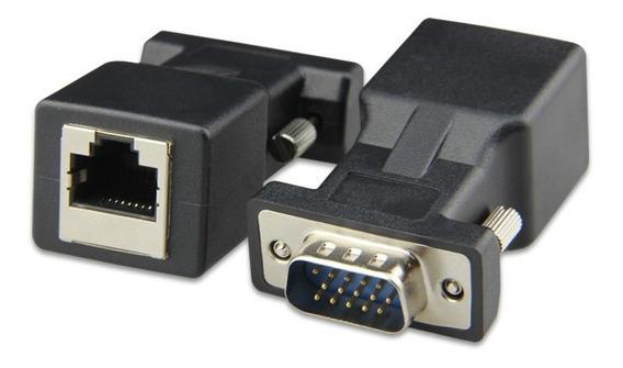 Par Conversor Vídeo Vga Rj45 Rede Conector Monitor Dvr Tv Pc