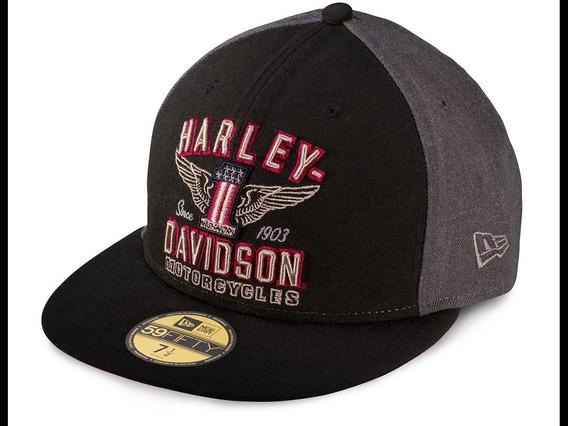 Harley Gorra Black Label Gris Con Negro Talla M 7 1/4 57.7cm