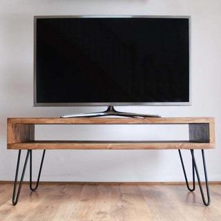 Mesa/repisa Para Tv 90 Cms Madera Sólida Diseño Industrial