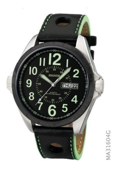 Relógio Magnum Military Masculino Couro Ma31604g Novo